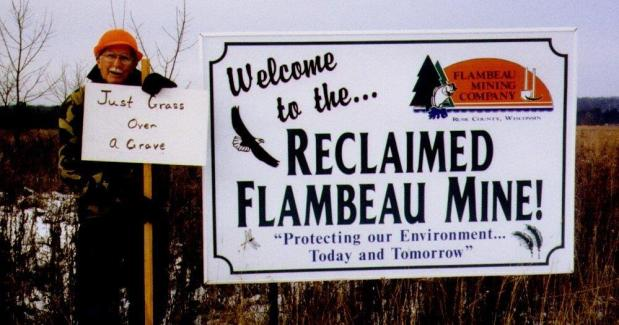Roscoe Churchill of Ladysmith, Wisconsin astutely offers comment on the manicured Flambeau Mine site (Nov 2004).